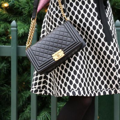 Christmas Outfit, DVF wrap dress, Chanel boy bag, #ootd