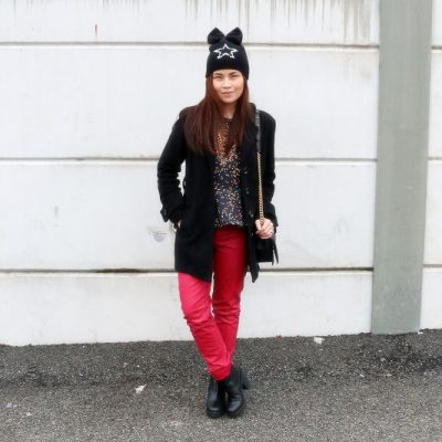 Rockstar Beanie, Coated Pants, Outfit, polka dots, black, red, STYLEanthropy, fashion, style