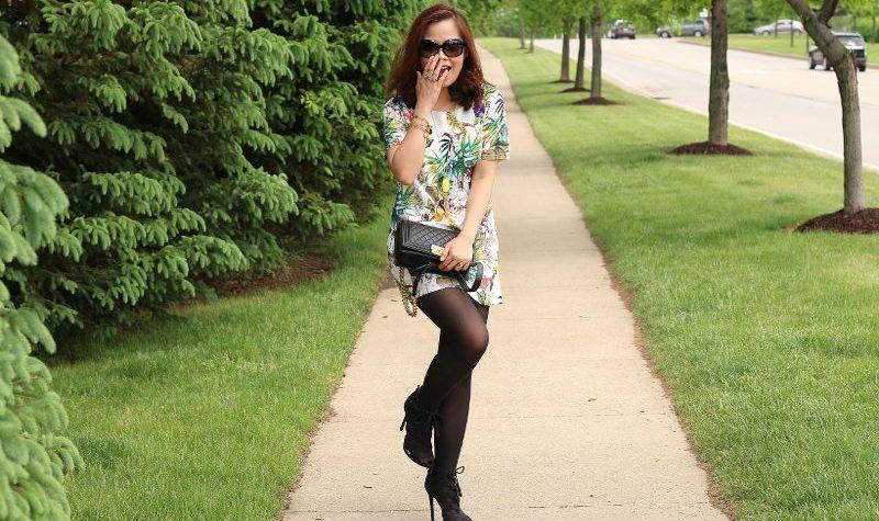 Botanical print summer dress, fall transition