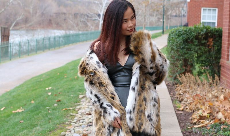 Topshop dress, holiday outfit, faux leather dress, faux fur coat