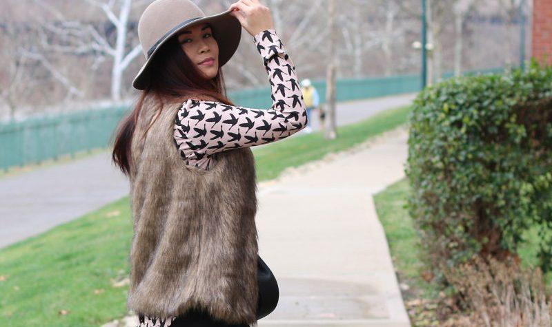 Romwe faux fur vest, floppy hat, rose quartz top