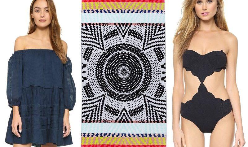 Shopbop Surprise Sale Beach Essentials, Mara Hoffman towel, Free People off shoulder dress, Marysia Scallop Swimsuit