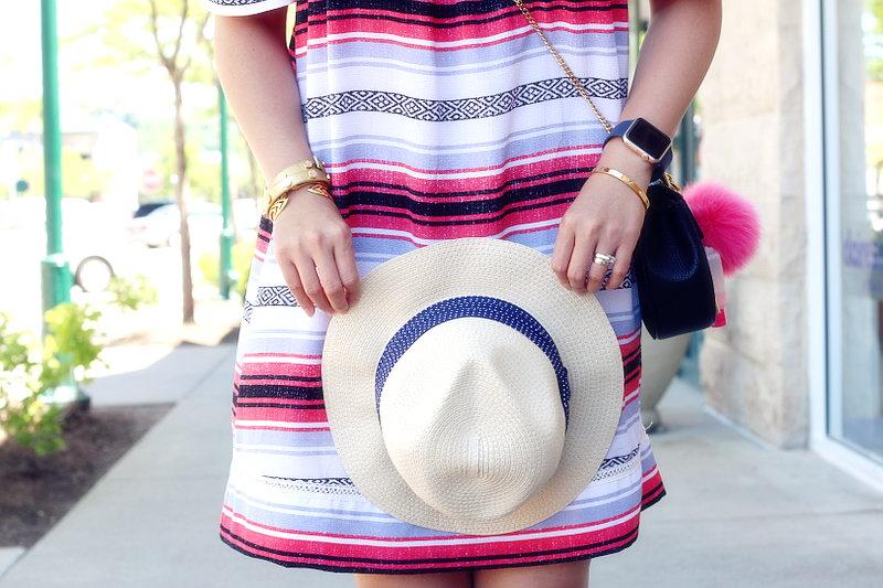 Fresh Summer Outfit, hat, striped dress, off shoulder, cross body bag