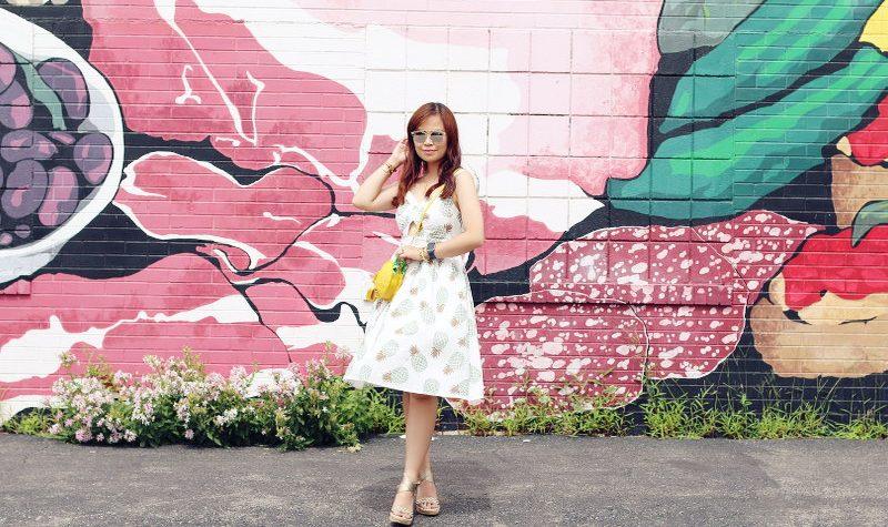 Zaful Pineapple Dress, printed dress, espadrille wedges
