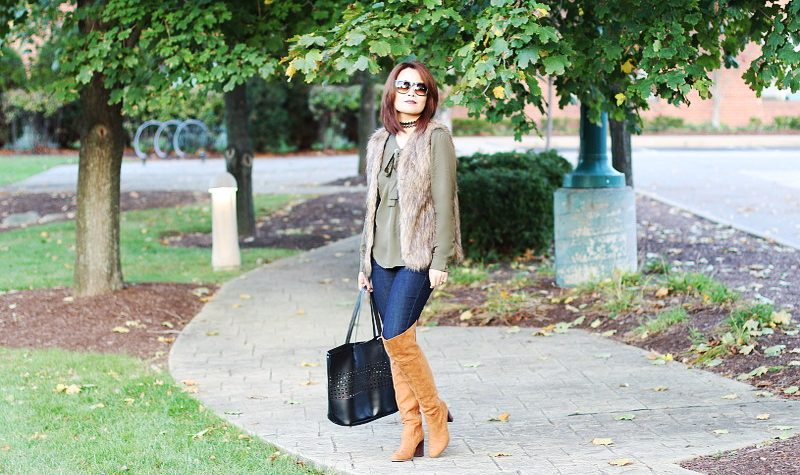 Zaful Olive Green Lace Up Blouse, camel Over The Knee Boots