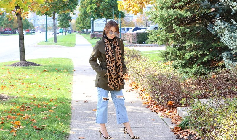 Fall Outfit, Olive Green Coat, Kick Flares, Leopard Print, scarf, pumps