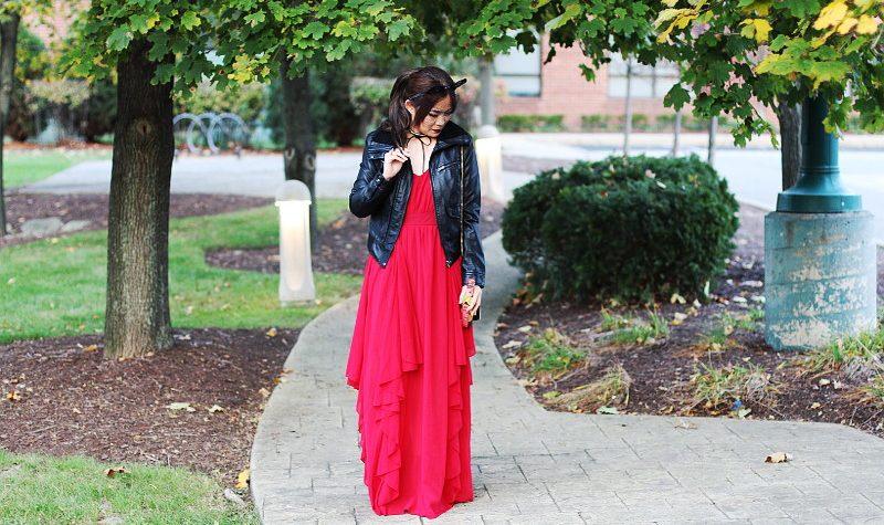 holiday dress, holiday look. chiffon, SheIn maxi