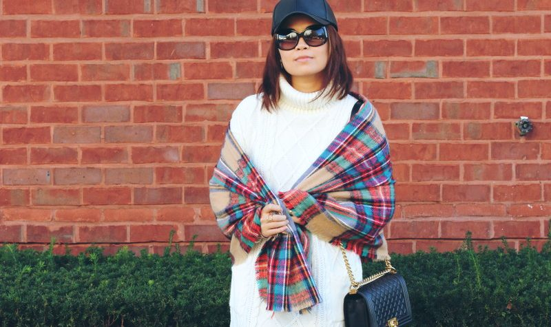 White Sweater Dress, plaid blanket scarf, faux leather cap