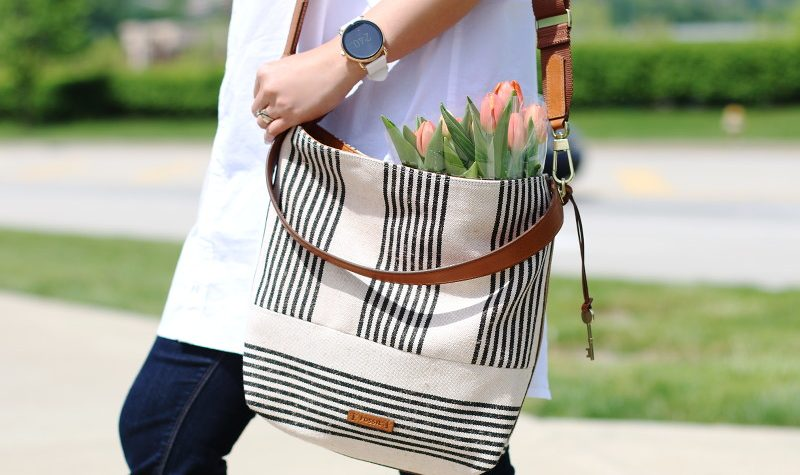 Fossil Bag, Q Wander Smartwatch, white shirt, jeans