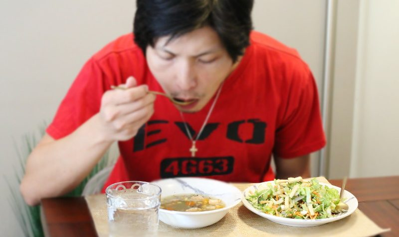 Husband Trying Well Yes Soups, salad, eating, dining
