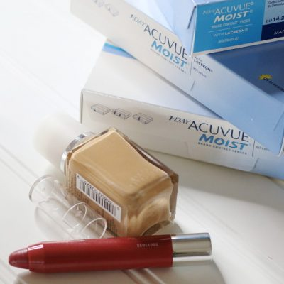 ACUVUE Brand Contact Lenses, red lipstick, foundation