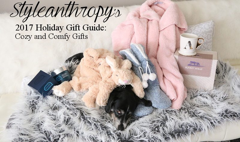 Holiday Gift Guide, Cozy Comfy Gifts, neck wrap, slippers, cardigan, mug, mask, neck wrap