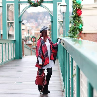 gray shirt dress, holiday outfit, red plaid poncho, suede boots, outfit