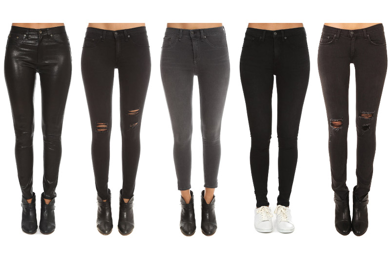 Rag & Bone denim, Rag and bone jeans, black skinnies, leather, jeans, Blue & Cream