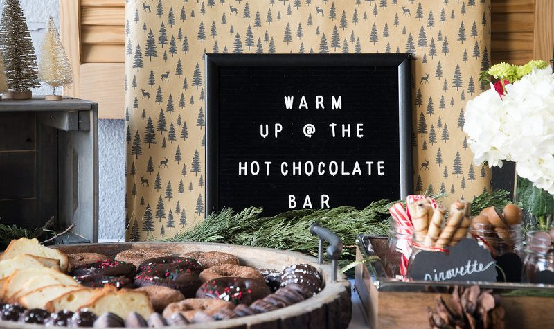 Holiday decor, party, hot chocolate bar, donuts, peppermint sticks