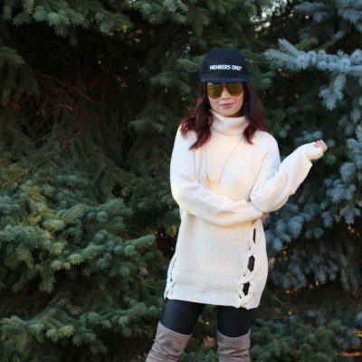 Sweater, Black Faux Leather Pants, members only hat