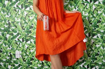 Diet Coke Zesty Blood Orange Dress Inspiration, outfit, green leaf wall paper, jungle tropical wallpaper