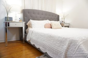 gray headboard, silver nightstand, white quilted sheets, master bedroom spring refresh
