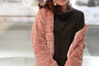 PinkBlush Turtleneck Sweater, pink faux fur jacket