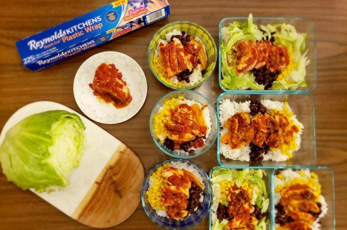 Chicken Burrito Bowls, New Reynolds Kitchen Wrap, cooking, kitchen, meal prep