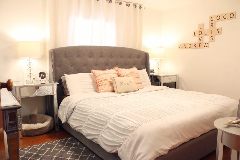 Master Bedroom Makeover - Coral and Gray - STYLEANTHROPY