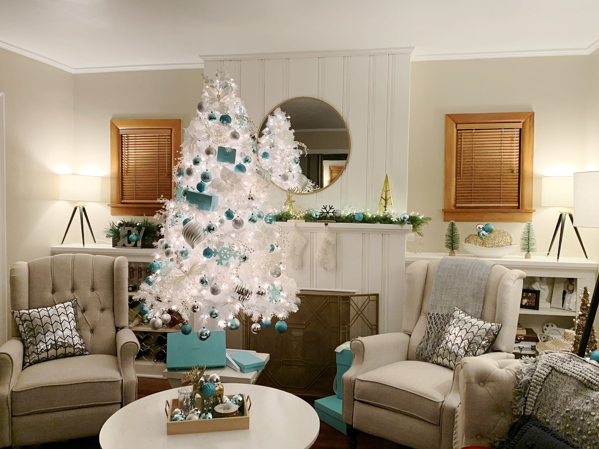 Tiffany Blue White And Red Christmas Tree And Holiday Decor Styleanthropy